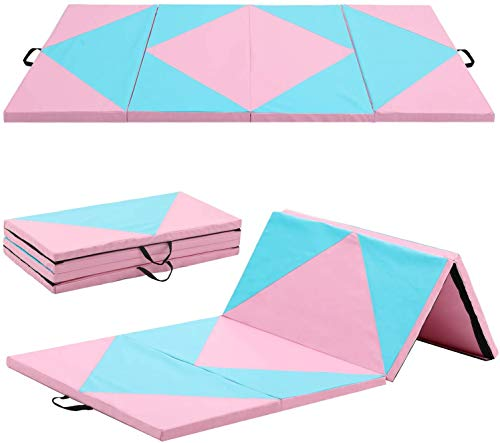 Max4out 4x8x2 Gymnastics Mat Folding Exercise Tumbling Yoga Mats for Gym Fitness with Handle, Pink