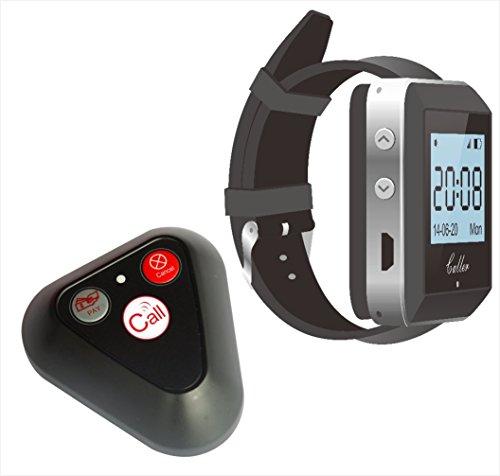 Conjunto de sistema de llamadas de camarero inalámbrico: botón de llamada multifunción YK500-3H y reloj receptor de llamada de pulso ZJ-41E - Sistema de paginación para restaurantes