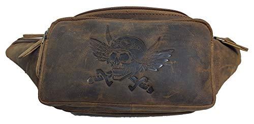 Echt Leder Gürteltasche Hüfttasche Bauchtasche Skull Totenkopf von Einkaufszauber