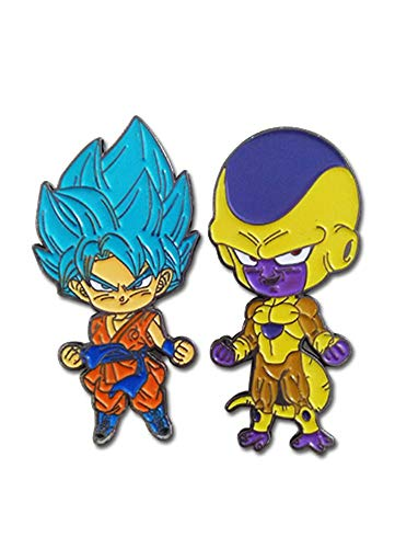 Great Eastern Entertainment Dragon Ball Super SSGSS Blue Goku & Golden Frieza Metal Pins Set of 2