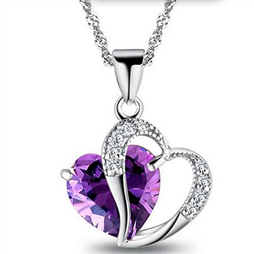 WEFH Collar con Colgante de Cadena de Diamantes de imitación para Mujer, Cadena de clavícula de circonita en Forma de corazón, púrpura