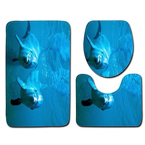 DREAMING-Dolphin Marine Alfombra De Baño De Estilo 3D Alfombra De Piso Antideslizante Alfombra De Franela Alfombra De Puerta Alfombra Juego De 3 Piezas 50cm * 80cm