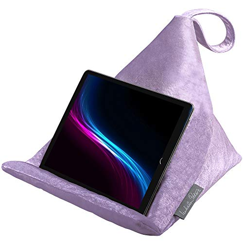 Izabela Peters Designer Bean Bag Cushion Pillow Stand for IPad, Tablet, Kindle, Phone – The Holder Supports Devices At Any Angle – Luxurious Shimmer Velvet – Violet | Signature Colour Collection