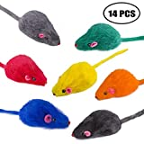Yangbaga falso topo sonaglio arcobaleno, 14pezzi, giochi per gatti topi per gatti e gatt...