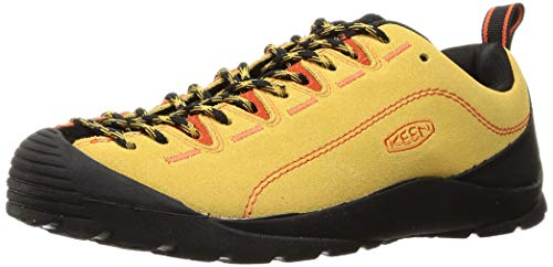 KEEN Men's Jasper Suede Leather Climbing Approach Sneaker, Ochre/Safety Orange, 11