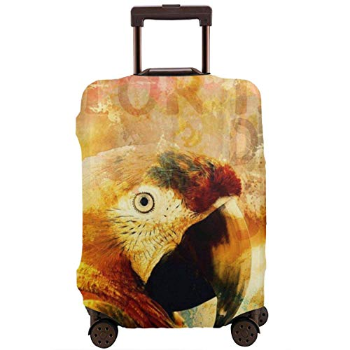 Travel Suitcase Protector Exotic Parrot Tropical Bird Colors Quote Luggage Cover Protective Travel Trunk Case Elastic Suitcase Protector Fits 18-21 Inch Luggage
