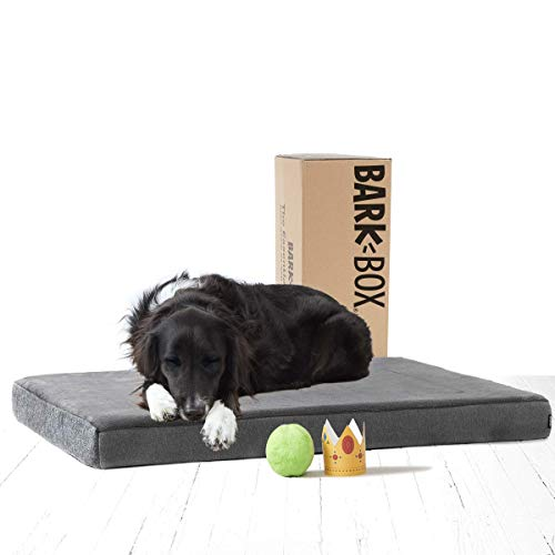 BarkBox Memory Foam Platform Dog Bed | Plush Mattress for Orthopedic Joint Relief | Machine Washable Cuddler with Removable Cover and Waterproof Lining | Includes Squeaker Toy | Grey | Large
