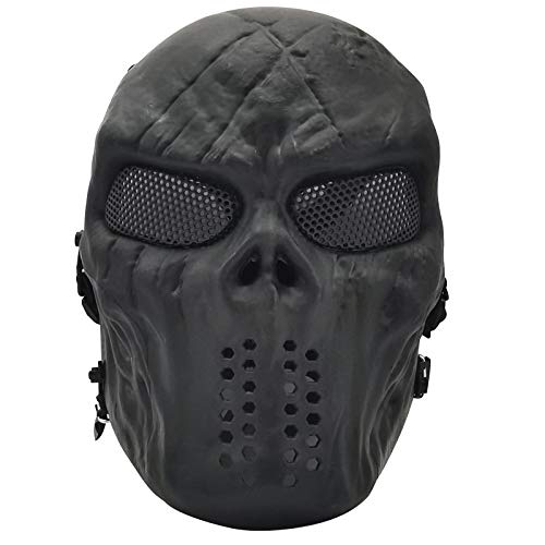 PuddingStation Full Face Airsoft Mask, for Masquerade Halloween Cosplay, Movie Props and Other Outdoor Activities (Black)