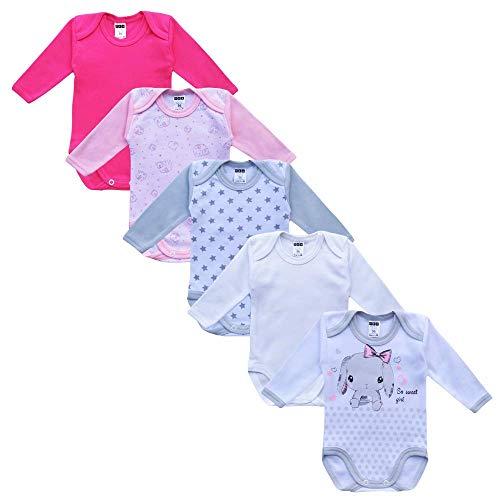 MEA BABY Unisex Baby Langarm Body aus 100% Baumwolle im 5er Pack, Baby Body mit Aufdruck, Baby Body für Mädchen , Baby Body für Jungen (62, Mädchen 2)