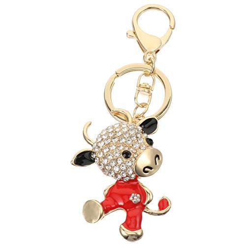SOIMISS 4 Stück Sternzeichen Ochsen Schlüsselbund 3D Funkelnden Charme Strass Kuh Schlüsselring Bling Kristall Schmuck Tasche Ornament