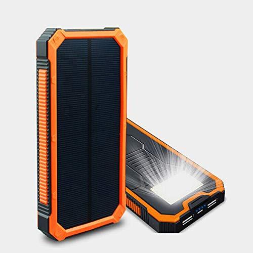 WY&WY Banco De Energía Solar 20000 Mah Cargador A Prueba De Agua Carga De Batería De Polímero Externo Dual USB, para Camping Panel Solar para Teléfonos Inteligentes Y Otros Dispositivos
