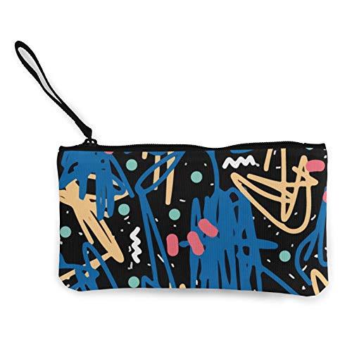 Moneda de lona, color graffiti Art monedero con cremallera, bolsa de cosméticos de viaje multifunción bolsas de maquillaje para teléfono móvil, paquete de lápices con asa