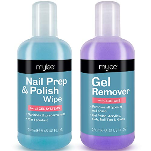 Mylee Nail Prep & Polish Wipe + Gel Remover 250ml, Solvente Premium di alta qualità per Manicure e Pedicure LED/UV, Ideale per tutti i tipi di smalto