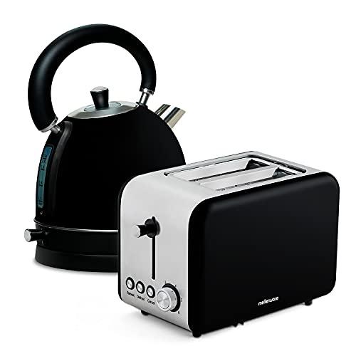 Mellerware Pack Desayuno Tostadora Crispy! + Hervidor Agua eléctrico Spring Diseño Original. Tostadoras Pan y hervidor de Agua (Negro)