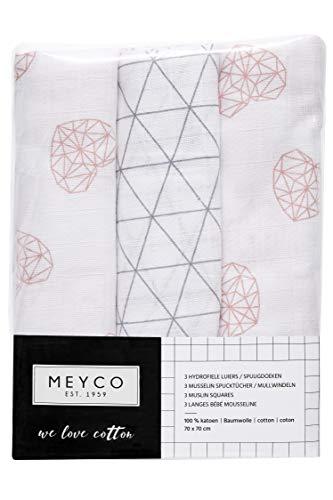 Meyco 452012 Mull/Musselin Windel 3er Set, 70x70cm GEOMETRIC HEART-TRIANGEL Altrosa-Grau-Weiss