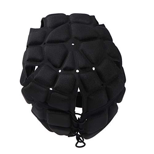 LIOOBO Rugby Helm kopfschutz Kopfbedeckung fußball fußball Scrum Cap kopfschutz Softshell schutzhelm für Kinder Jugendliche (schwarz)