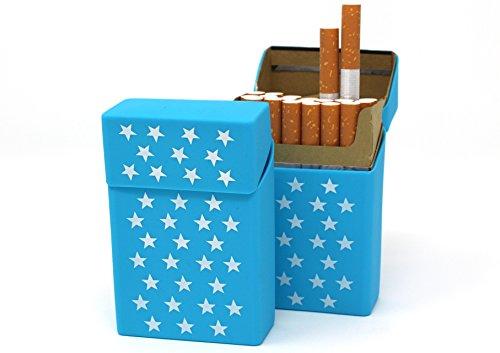2 x Caja de Cigarrillos de Silicona – Azul Claro con Estrellas – Funda de Cigarrillos – Pitillera – Apto para una Caja de Cigarrillos en tamaño estándar – también Apto para Las Nuevas 21 Cajas