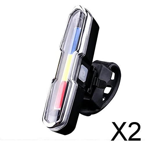 F Fityle 2X USB Ricaricabile LED COB Bicicletta Bicicletta Anteriore Posteriore Fanale Posteriore Lampada