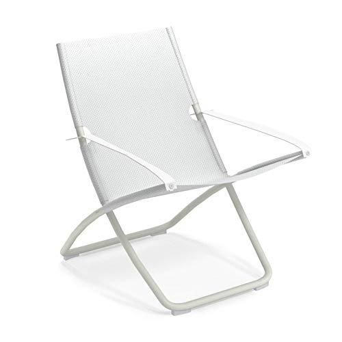 Snooze Liegestuhl, weiß weiß Sitzfläche EMU-Tex weiß LxBxH 91x75x105cm Gestell Stahl weiß klappbar