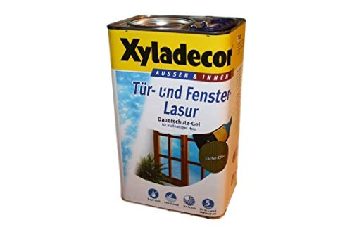 Xyladecor Tür und Fenster Lasur- Dauerschutz Gel 5 Liter Esche-Oliv