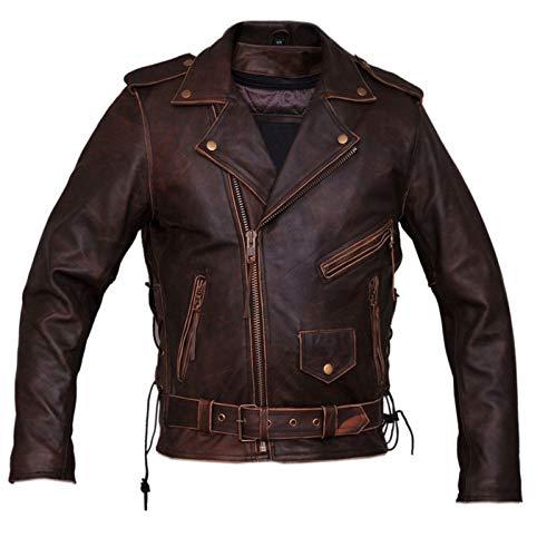 Marlboro Gears Dunhill Leder Herren, Damen Antique Brown Biker Lederjacke-XL