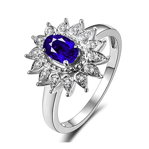 AmDxD oro blanco 18 ct oval-shape Blue White Sapphire