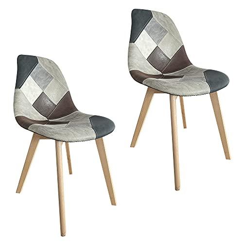 Sedie da pranzo imbottite patchwork con gambe in legno in set da 2 4 6 pz (Brown, 2)