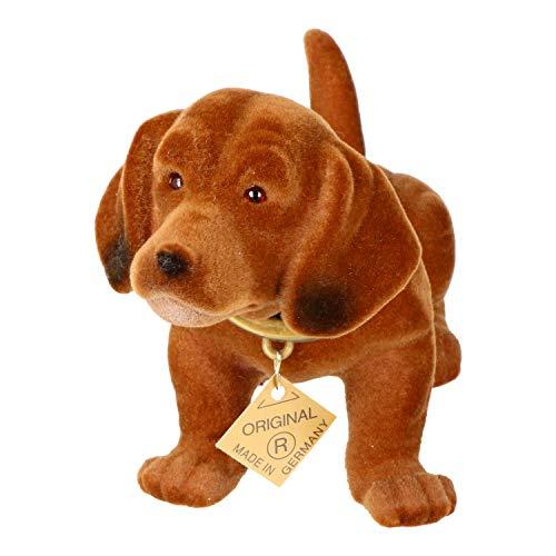 RAKSO Wackel Dackel Figur Hund Dackel H 10 cm klein mit Wackelkopf
