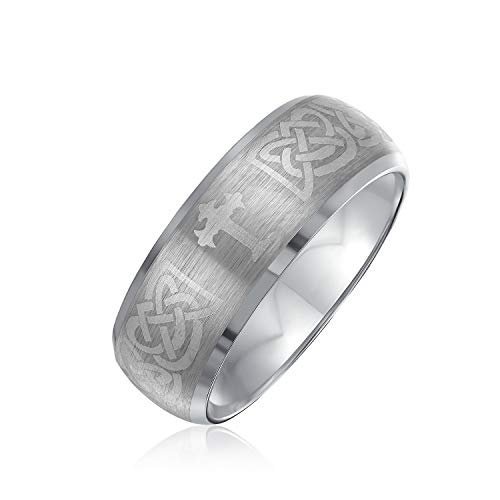 Bling Jewelry Etched Irish Celtic Knot Maltase Cross Couples Titanium Wedding Band Rings for Men for Women Matte Silver Tone 8MM
