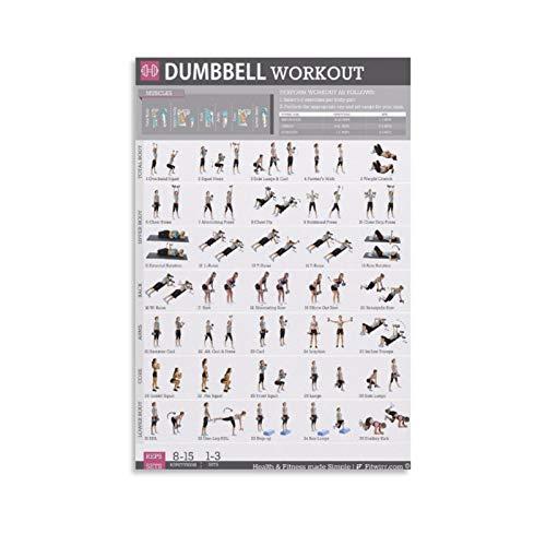 HUAIREN Übungsposter mit Kurzhantel-Workout, perfekt zum Muskelaufbau, Leinwand, Wandkunst, für Raumdekoration, Familienschlafzimmer, Badezimmer, ästhetisches Poster, 20 x 30 cm