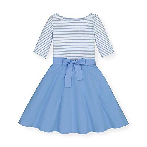 Hope & Henry Girls' 3/4 Sleeve Lightweight Knit Skater Dress Blue