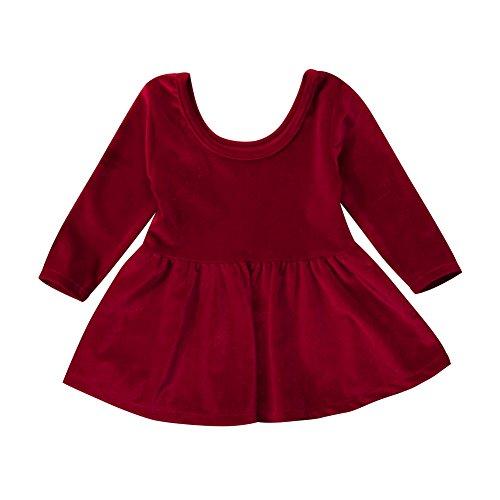 Infant Toddler Baby Girl Velvet Long Sleeve Mini Dress Warm Christmas Outfit (Wine Red, 0-6 Months)