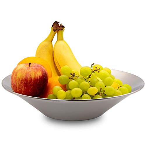 Frutero acero inoxidable de 29 cm de diámetro - Fruteros de cocina modernos y decorativos, ideal para fruta o como centro de mesa decorativo