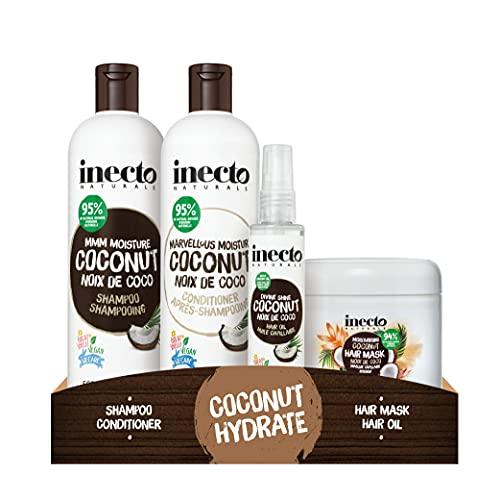 Inecto Shampoo, Conditioner, Haaröl und Masken-Set, angereichert mit natürlichem Kokosöl, um Feuchtigkeit zu spenden und zu hydratisieren, vegan und tierversuchsfrei