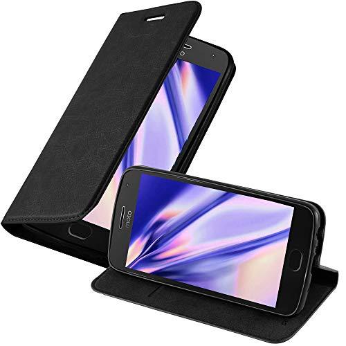 Cadorabo Hülle für Motorola Moto G5 Plus - Hülle in Nacht SCHWARZ – Handyhülle mit Magnetverschluss, Standfunktion und Kartenfach - Case Cover Schutzhülle Etui Tasche Book Klapp Style