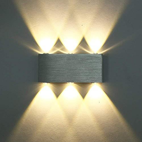 SISVIV Apliques de Pared 6 LED 6W Lámpara de Pared Interior Luz Moderno Para Dormitorio Escalera Pasillo KTV Salon Blanco Cálido