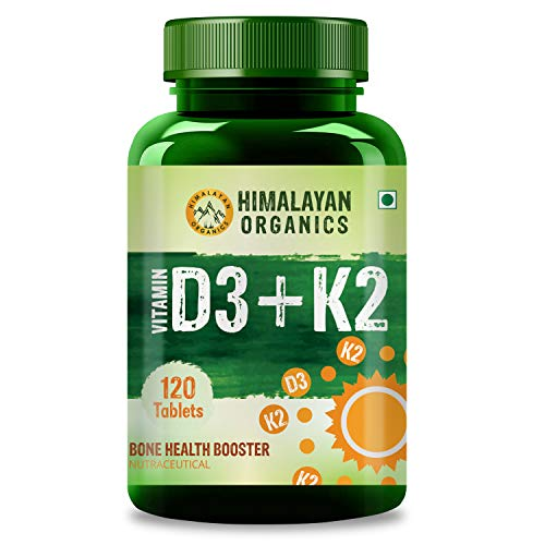 Himalayan Organics Vitamin D3 with K2 as MK7 supplement - 120 Veg Tablets