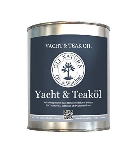OLI-NATURA Yacht & Teaköl (Holzöl für Außenbereich, UV-Schutz) Farbe: Teak, Inhalt: 2,5 Liter