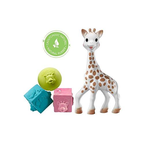 Sophie la Girafe et ses jouets So'pure dans un petit sac