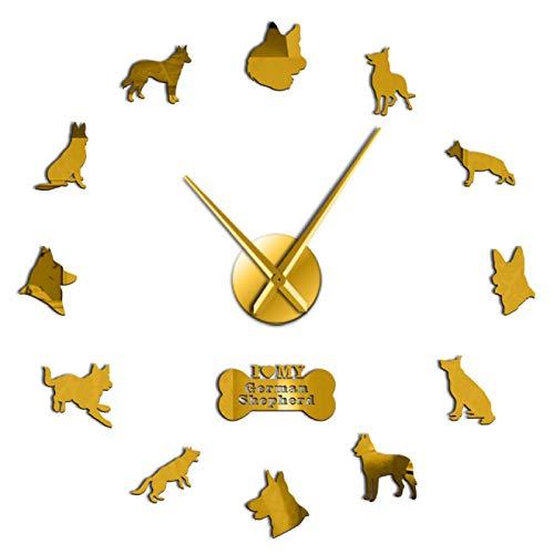 xinxin Relojes de Pared Relojes de Pared Pastor alemán Cachorros Club de Perros Cool Quiet Sweep Reloj de Arte de Pared Raza de Perro Autoadhesivo DIY 3D Animales Tienda Decoración
