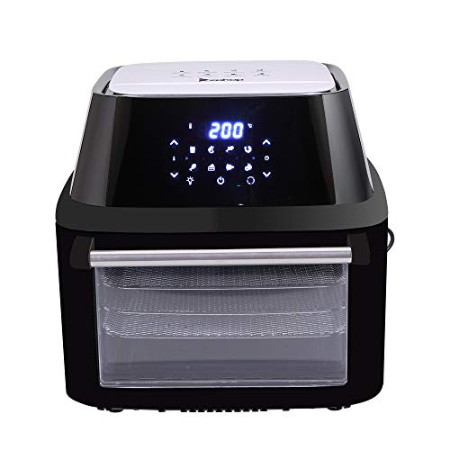 Z ZTDM ZOKOP 17QT Family Size Air Fryer + Oven + Rotisserie + Dehydrator , 1800W ETL Listed All-in-One Electric Oilless Cooker, 8 Cooking Preset, 9 Accessories, LED Touch Screen, Auto-Shutoff Safety Black