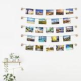 Exquis Family - Marco de fotos de pared con cuerda portafotos de color madera natural, 30 pinzas pequeñas para decoración de la casa, regalo de boda y cumpleaños