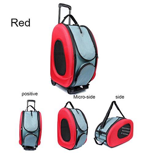 Hundetrolley Transporttasche Trolley Trageboxen Hunderucksack strapazierfähig Oxford , Red