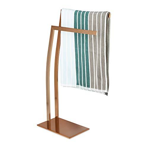 Relaxdays Handtuchhalter WIMEDO eckig H x B x T: ca. 80 x 32 x 20 cm freistehender Handtuchständer mit 2 Handtuchstangen und einem eckigen Standfuß als dekoratives Badaccessoire aus Edelstahl, kupfer
