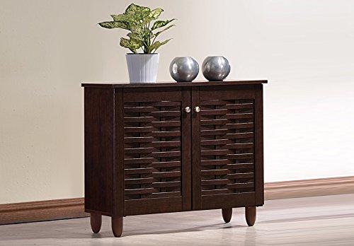 Wholesale Interiors Baxton Studio Winda Modern and Contemporary 2-Door Dark Brown Wooden Entryway Shoes Storage Cabinet -