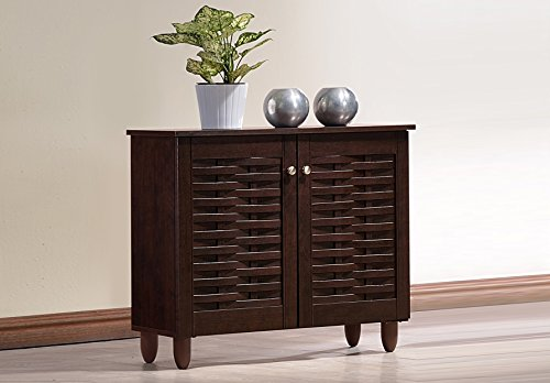 Wholesale Interiors Baxton Studio Winda Modern and Contemporary 2-Door Dark Brown Wooden Entryway Shoes Storage Cabinet –