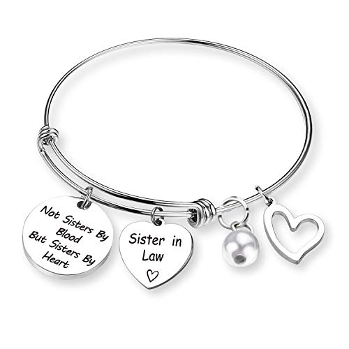 Sister in Law Gifts Not Sister By Blood But Sister By Heart Sister In Law Bracelet Wedding Gift Family Wedding Reunion Gift Best Friend Bracelet (BR- Not Sister By)
