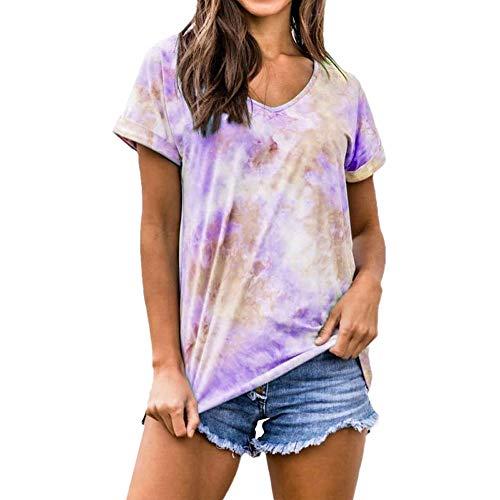 2020 Sommer Neues EuropäIsches Und Amerikanisches GrenzüBerschreitendes Damen-Farbverlaufs-Tie-Dye-T-Shirt Mit Lockerem äRmel