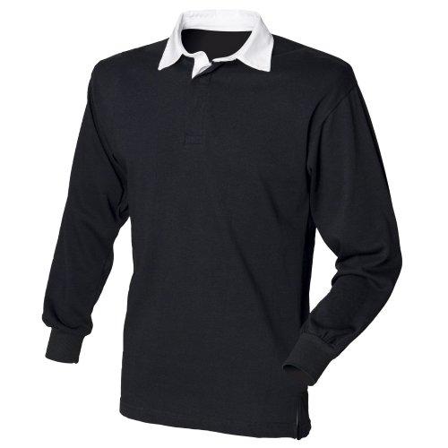 Front Row - Polo de rugby à manches longues 100% coton - Homme (S) (Noir/Blanc)