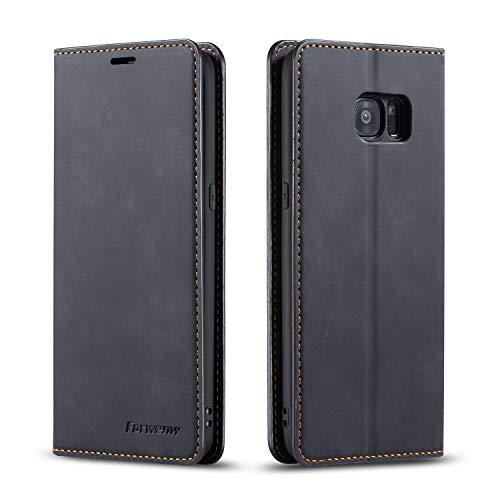 EZYUTAK Hülle für Samsung Galaxy S7, Magnetverschluss Premium PU Leder Flip Case mit Kartenfächern Brieftasche Standfuntion stoßfeste Silikonhülle Retro Ledertasche - Schwarz